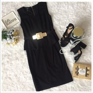 Alfani Peplum Dress with Gold Detail